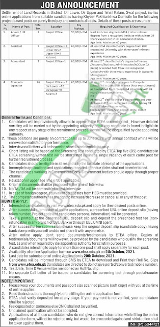 jobs in kpk    SETTLEMENT OF LAND RECORDS IN DISTRICT DIR LOWER.DIR UPPER AND TEHSIL KALAM,SWAT PROJECT  jobs in swat  jobs in kalam