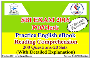 SBI Exam 2016-Practice English Reading Comprehension eBook-Download in PDF