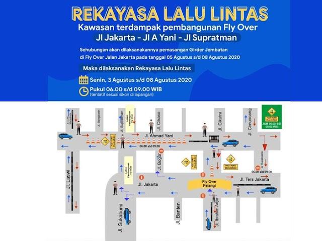 Ini Rekayasa Lalu Lintas Proyek Flyover Jalan Jakarta-Supratman Tanggal 3 - 8 Agustus 2020