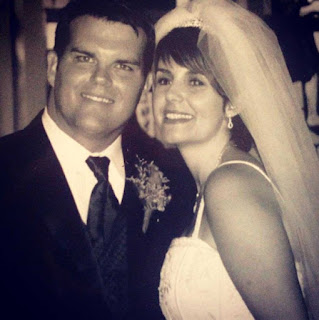 Doug Dunne with his wife Jill Bauer in their wedding dress