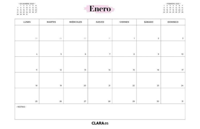 Calendario 2021 fondo blanco minimalista