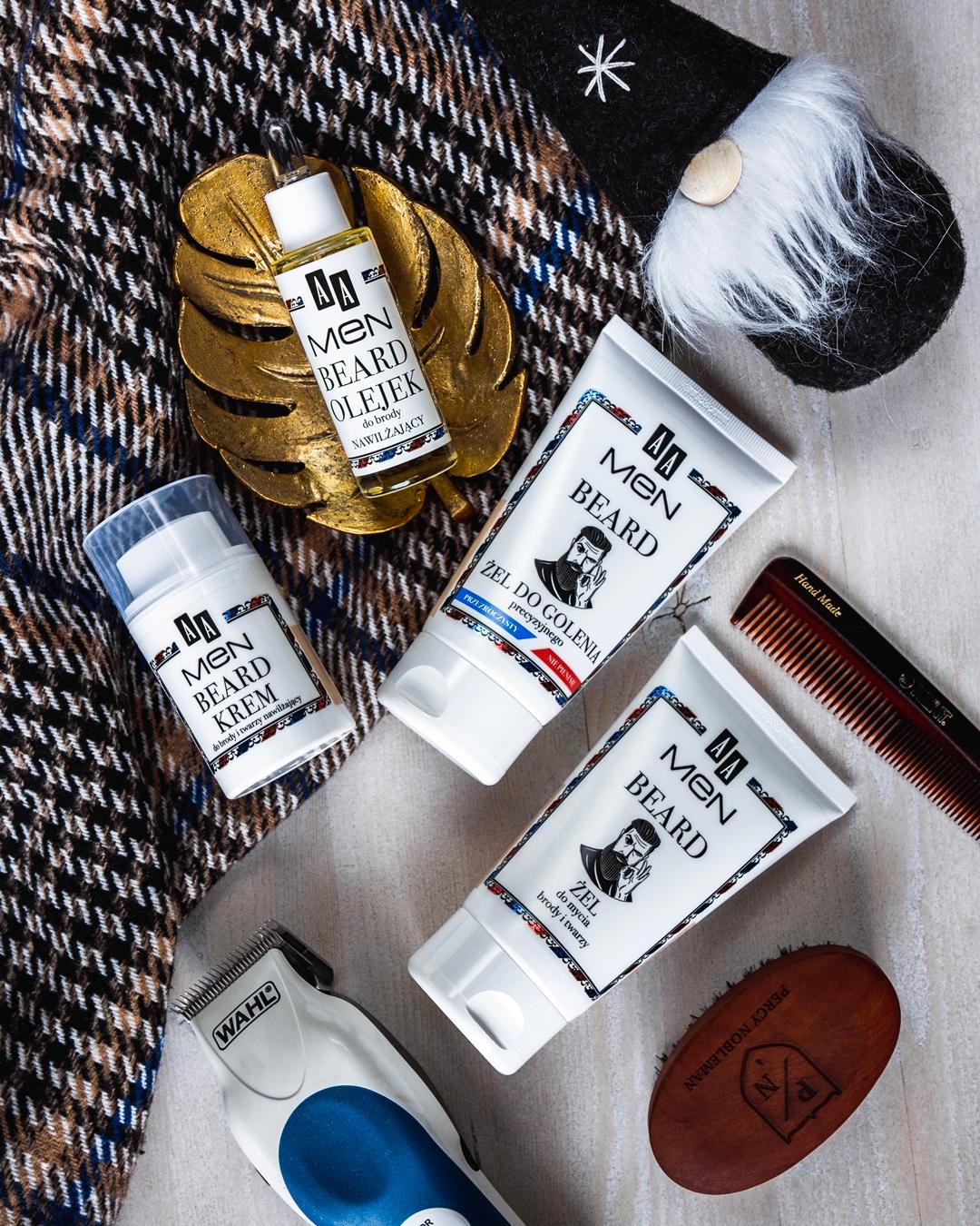 AA MEN BEARD: Żel do mycia brody i twarzy; Innowacyjny żel do precyzyjnego golenia; Olejek nawilżający do brody; Krem nawilżający do brody i twarzy; recenzja; opinia; kosmetyki; blog