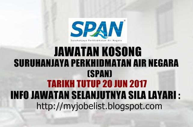 Jawatan Kosong Suruhanjaya Perkhidmatan Air Negara (SPAN) Jun 2017