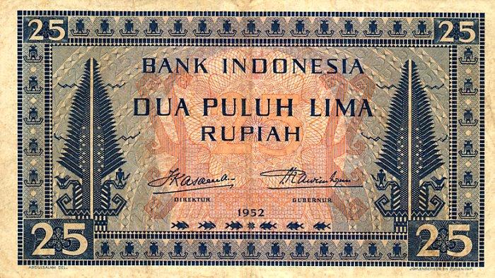 25 rupiah 1952 depan