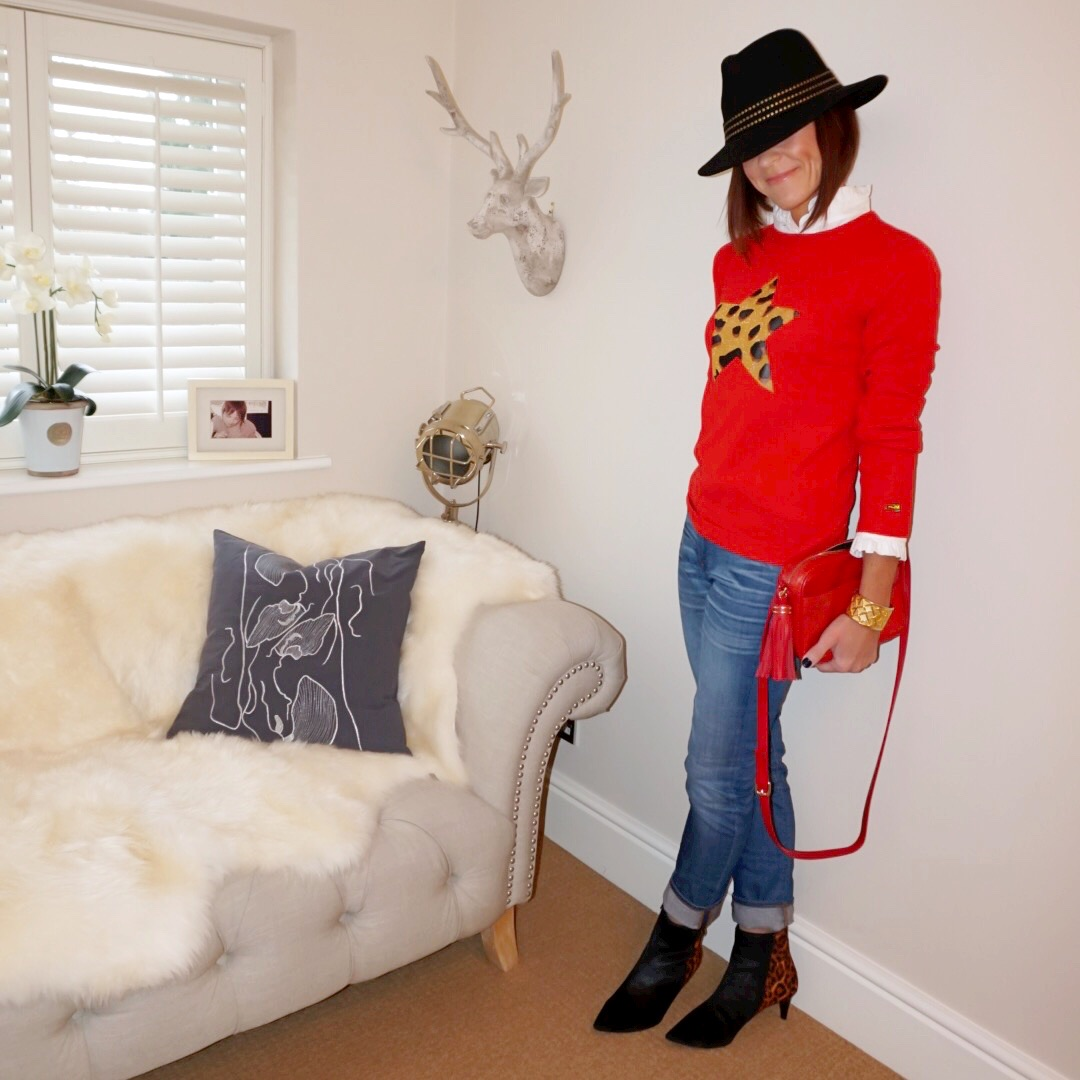 my midlife fashion, john lewis studded fedora felt hat, uniqlo frill detailed blouse, bella freud leoaprd crew neck jumper, uterque mock croc cross body bag, j crew boyfriend jeans, marks and spencer stiletto heel ankle boots