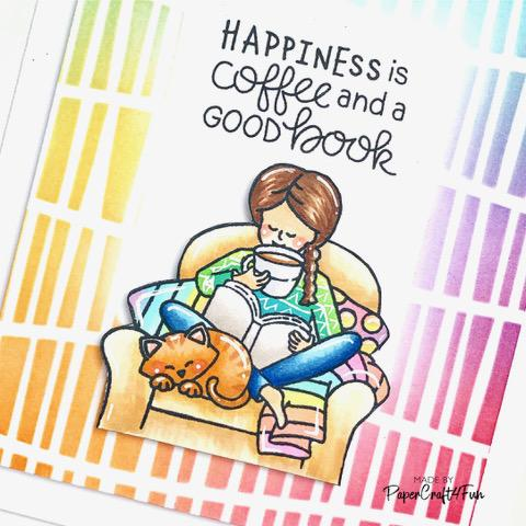 Happiness Is... Card by March Guest Designer Jane Trivedi | Sips & Stories Stamp Set and Serene Stripes Stencil by Newton's Nook Designs