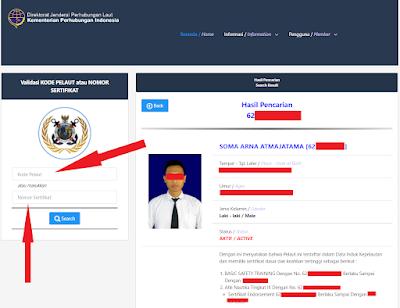 cek sertifikat pelaut di web pelaut.dephub.go.id
