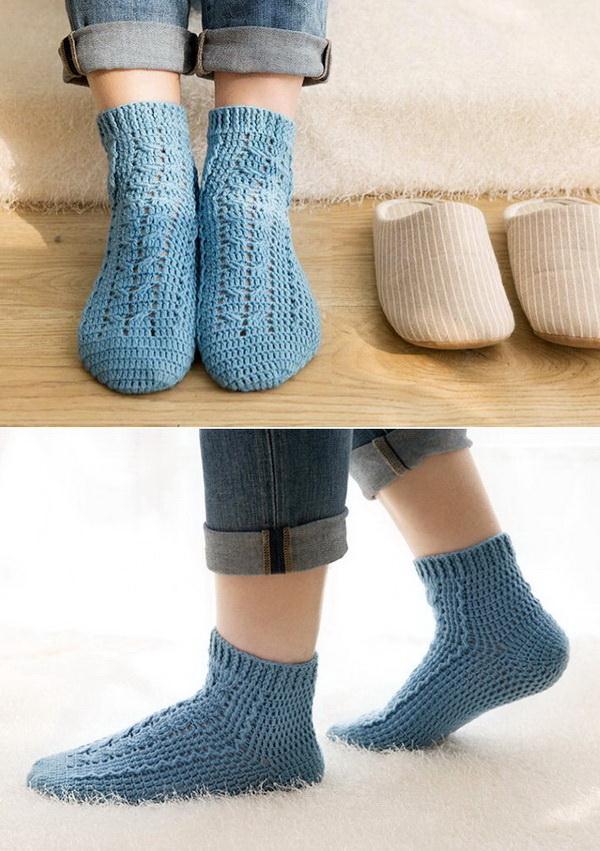 Crochet Socks, Blue