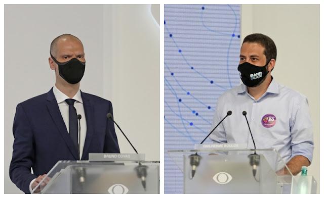 Os candidatos à Prefeitura da capital paulista Bruno Covas e Guilherme Boulos.