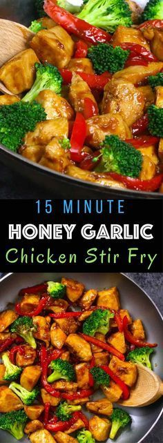15 MINUTE EASY HONEY GARLIC CHICKEN #sidedish #chicken #easy #stirfry
