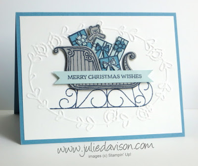 Stampin' Up! Santa's Sleigh Christmas Card for Stamp of the Month Club Card Kit by Julie Davison, www.juliedavison.com/clubs