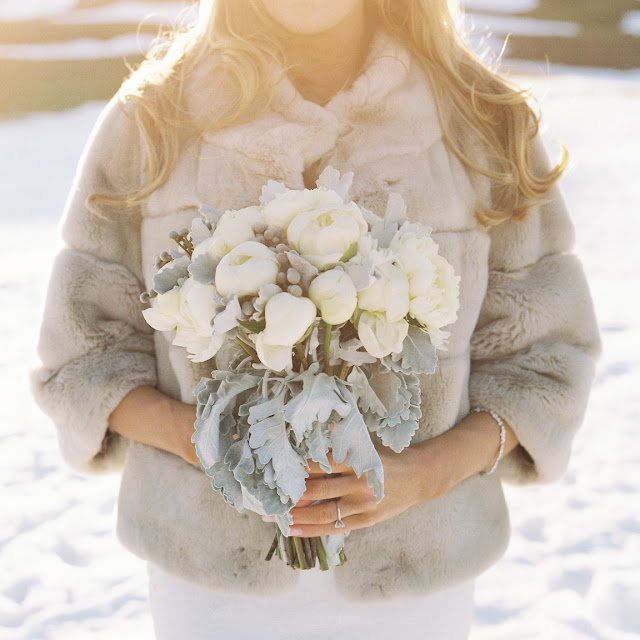 Bride Jenna in fur, with her bouquet before her wintery Willow Ridge Country Club Wedding | Karen Hill Photography