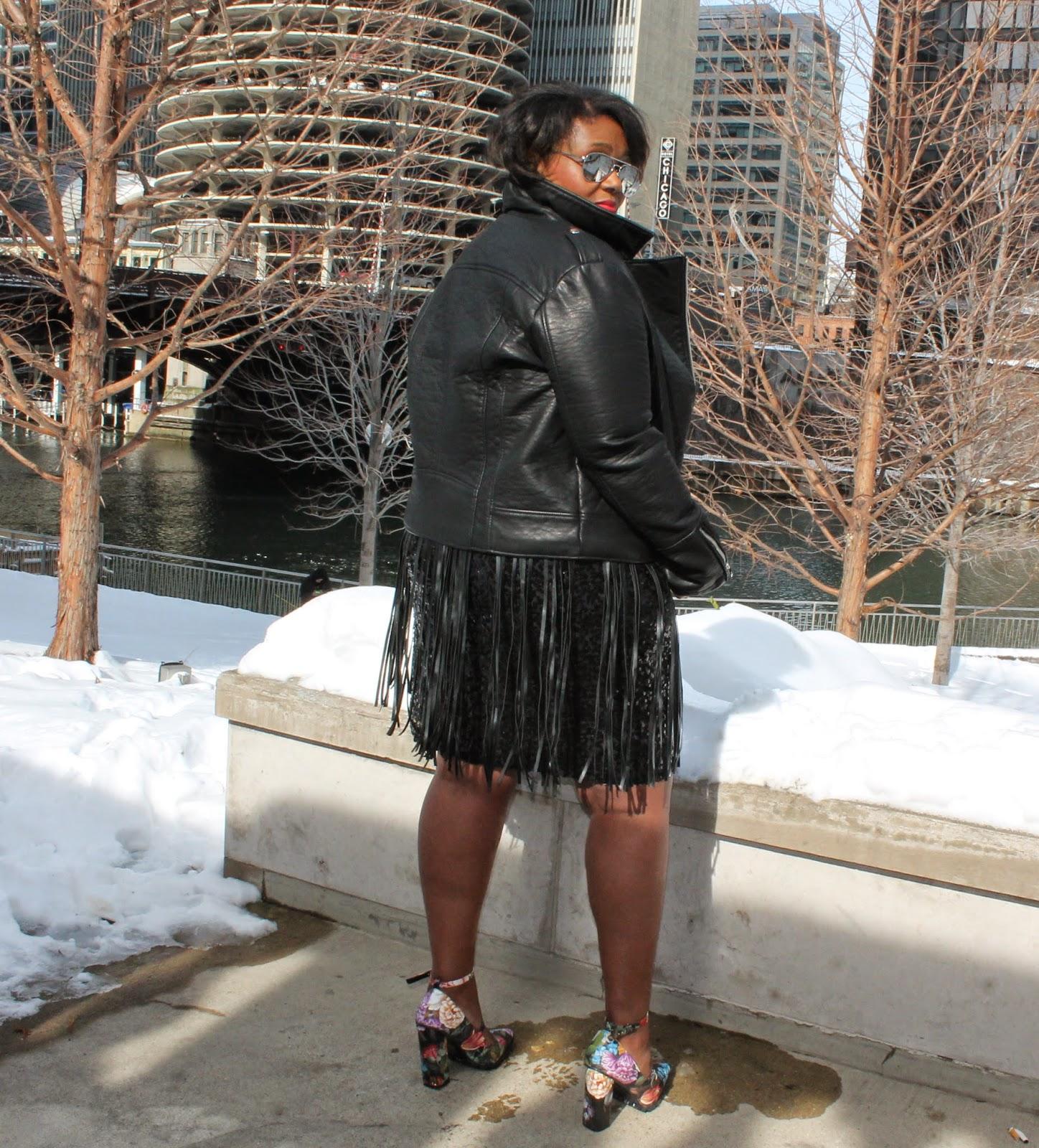 Valentines Day Style Rocker Chic leather Jacket Plus Size Sequins Fringe Floral Block Heel Pump