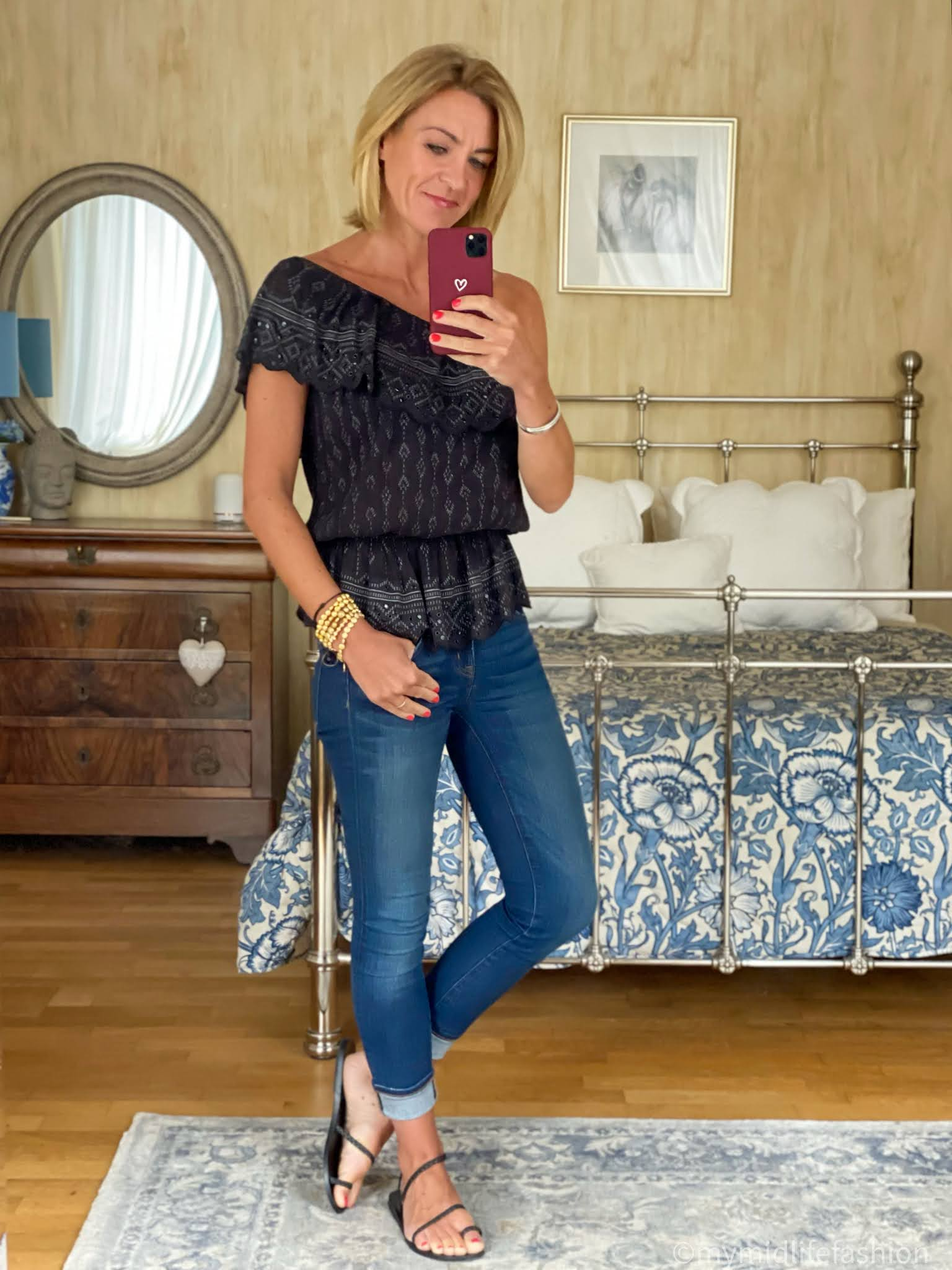 my midlife fashion, Ancient Greek eleftheria braided leather sandals, j crew 8 inch toothpick jeans, Isabel marant etoile off the shoulder top