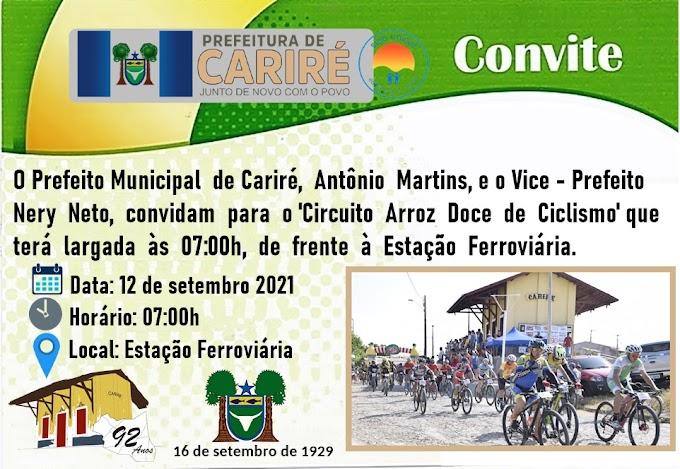 Dia 12/09, às 7h, será realizado o 'Circuito Arroz Doce de Ciclismo', com largada em frente à Estação Ferroviária de Cariré-CE