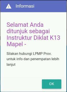 "saat kita masuk SIM PKB klik menu Monev akan muncul tulisan ""selamat Anda ditunjuk sebagai Instruktur Diklat K-13 Mapel -"