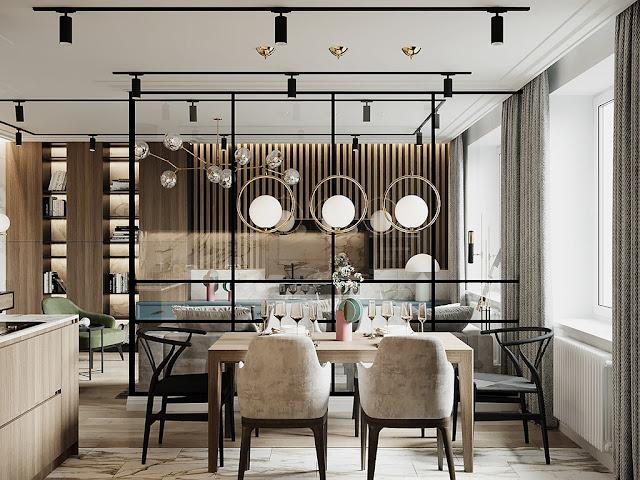 Thiết kế và thi công hoàn thiện nội thất căn hộ chung cư Eco Green Sài Gòn - Phòng khách, phòng bếp và bàn ăn