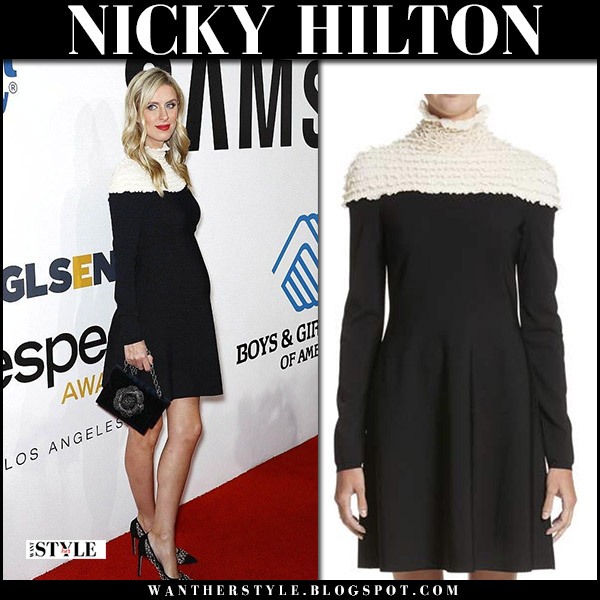 Nicky Hilton in black and white mock neck mini dress at Samsung Gala november 2 2017 red carpet baby bump