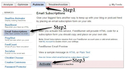 How to Add FeedBurner Email Subscription to your blog step1