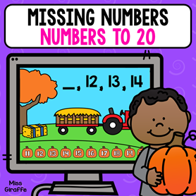 Missing numbers to 20 activity that is perfect for your virtual math centers!