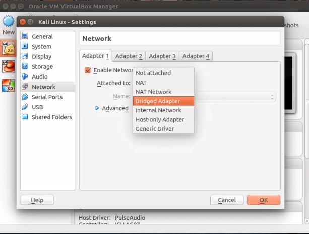 How to set and run Bridge Virtual Network on CentOS,Kali