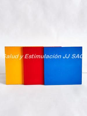 cuadrados papel colores amarillo rojo azul test tepsi