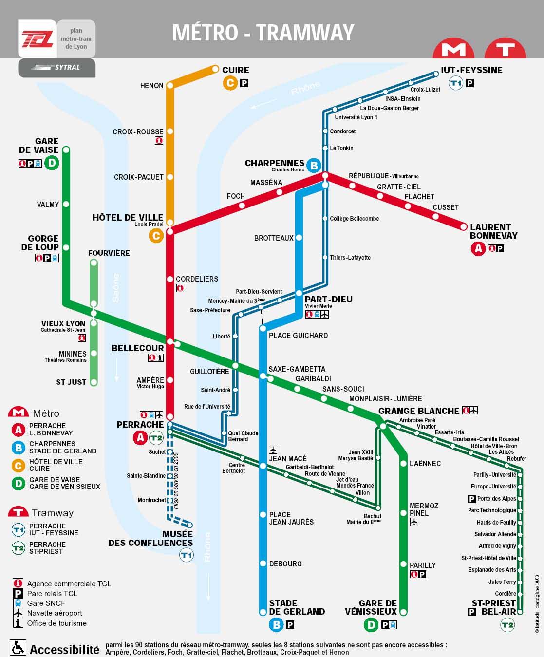plan du réseau tcl métro et tramway à Lyon