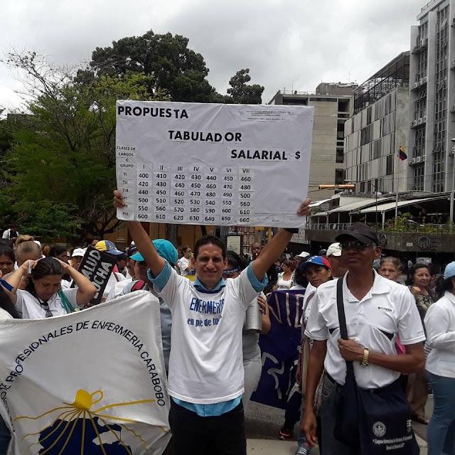 VENEZUELA: Enfermeros protestaron para exigir mejoras salariales y denunciar la crisis hospitalaria.