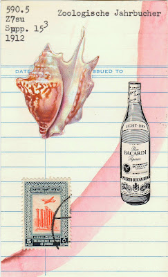 conch shell, bacardi rum bottle, Jordan airmail postage stamp, library card, Dada, Fluxus, mail art, collage