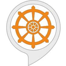 A graphic of the dharma wheel in an Alexa skill icon.