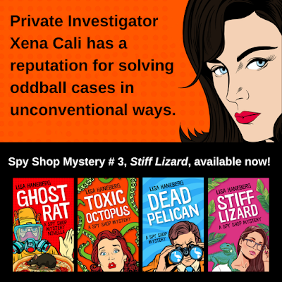 """Ad: """"Privte Investigator Xena Cali has a reputation for solving oddball cases in unconventional ways."""" Spy Shop Mystery #3, Stiff Lizard, available now! (Image also shows all 4 book covers in the series.)"""