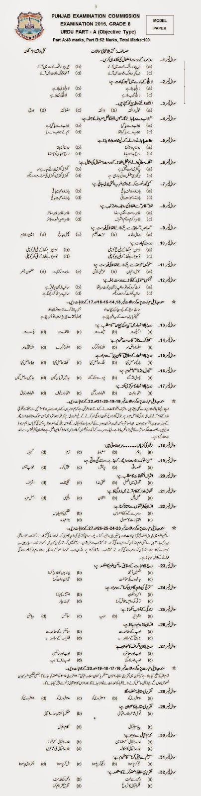 Model Paper Urdu 8th Class 2015 Objective Part