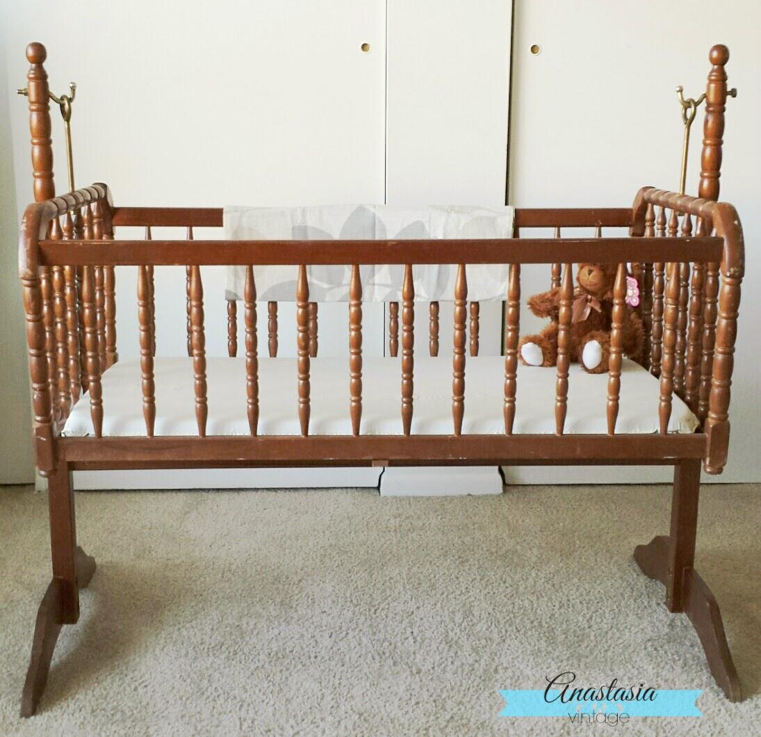 refinished Jenny Lind baby cradle crib vintage