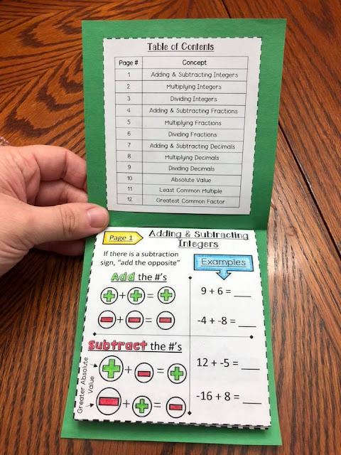 7th Grade Math Number Sense Booklet