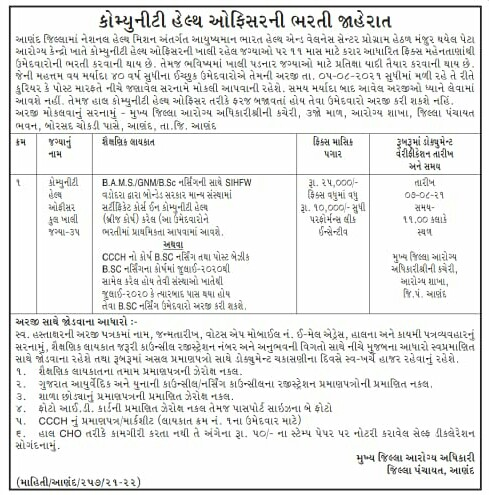 DHS Anand Recruitment 2021 | 35 Community Health Officer Posts 2021