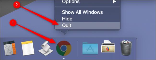 macOS قم بإنهاء Chrome