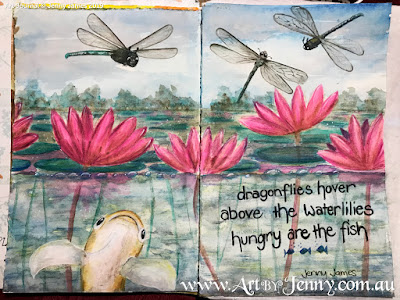 Haiku Watercolour Painting by Jenny James - finished picture of dragonflies with giant goldfish among waterlilies