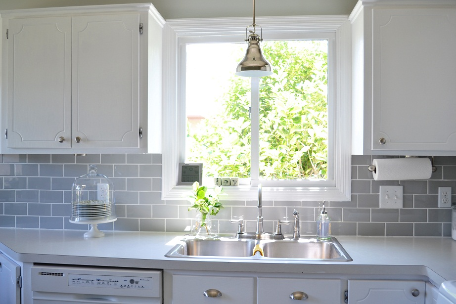 Matte White Tile Kitchen Backsplash