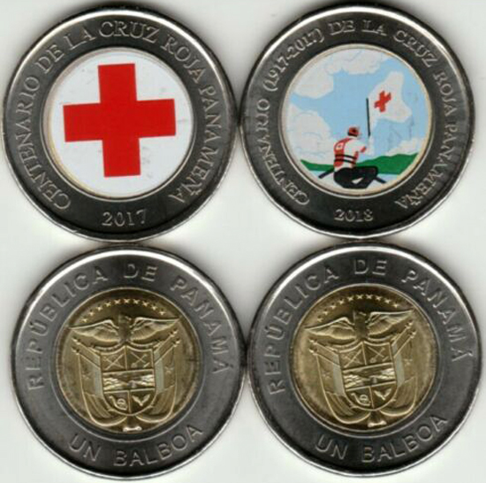 Panama 1 balboa 2017 & 2018 Centenary of the Red Cross