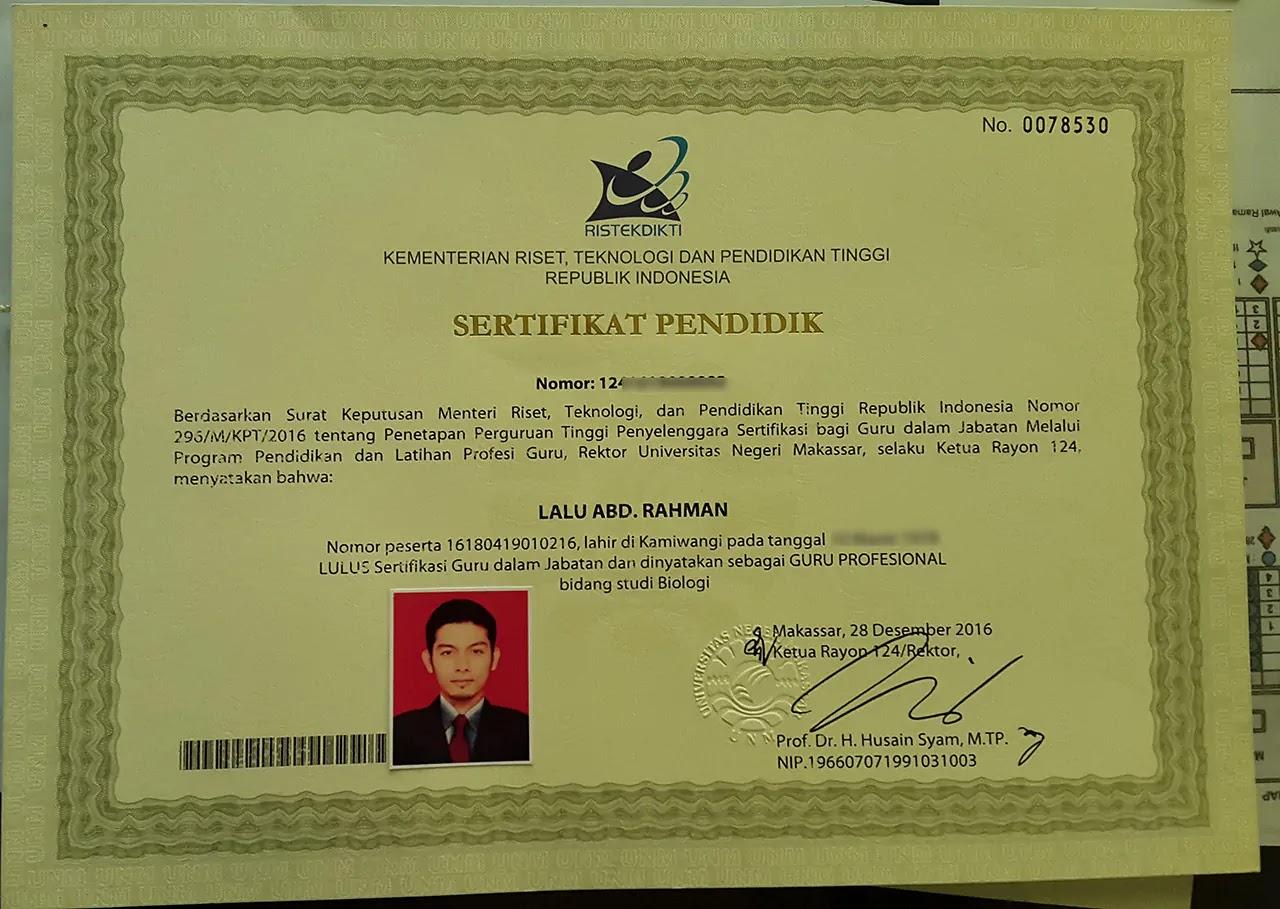 sertifikat guru profesioanl lalu abd. rahman