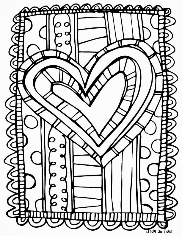 free scrappy valentine's day coloring page  from the pond