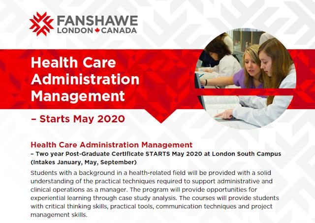 NEW Program: Health Care Administration Management - Fanshawe College