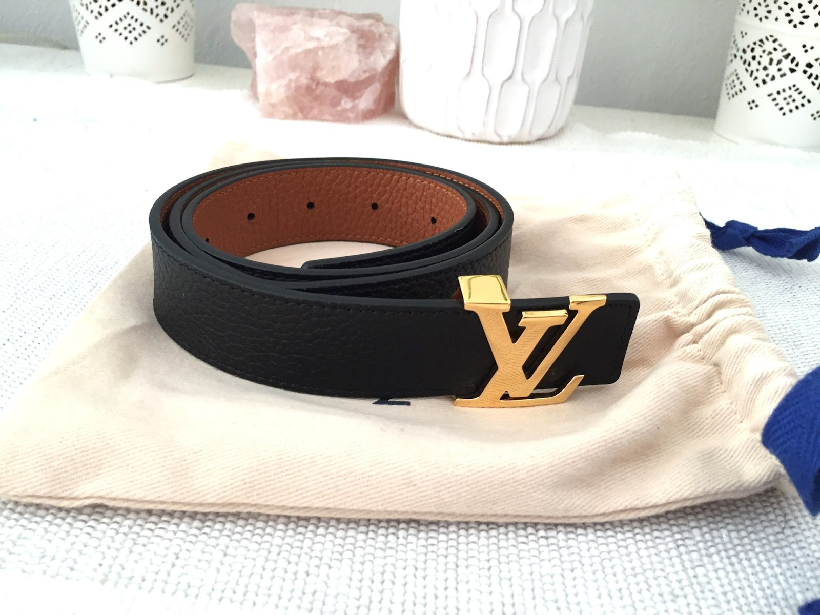 416782f0b8e7 ... at their belts and noticed this classic black leather belt with the LV  monogram buckle. I tried it on and fell in love with it s classy