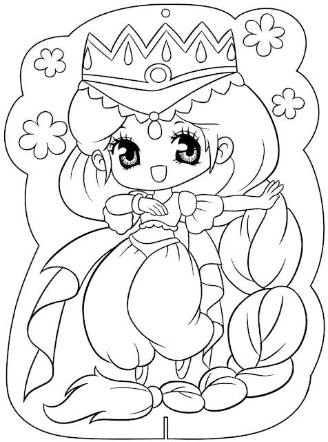 bé tập tô màu hình công chúa