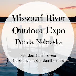"""silhouettes of two adults and a child are visible as they fish on a wooden dock at sunset. in foreground, the words """"Missouri River Outdoor Expo Ponca, Nebraska"""""""