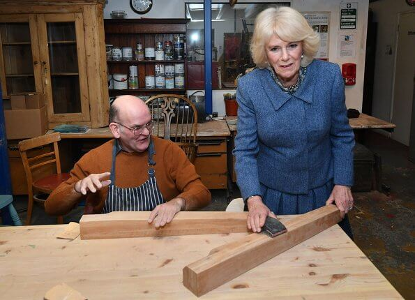 The Duchess visited Second Time Around, a furniture store and tearoom for adults with learning disabilities. Meghan Markle