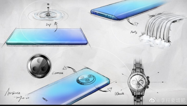 Vivo shows off NEX 3 sketches and 'waterfall' curved glass