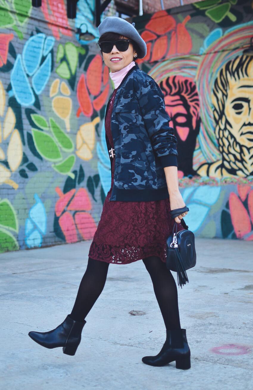 Lace dress street style