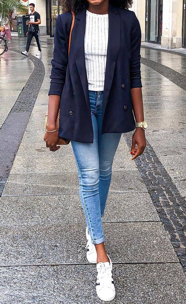 casual style addiction . white top + blazer + bag jeans + sneakers
