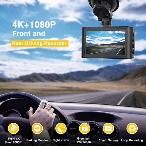 Review Campark Dual Dash Cam Native 4K Car Camera